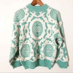 VINTAGE Chunky Knit Mint Green & White Sweater